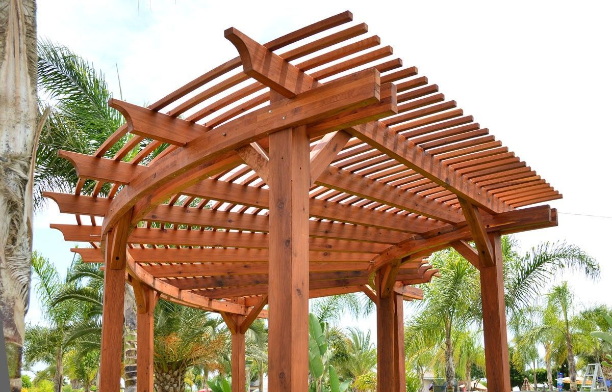 Fan Shaped Pergola Besedki Barbekyu Mangaly Pinterest Curved Pergola Backyard Pergola Pergola Designs