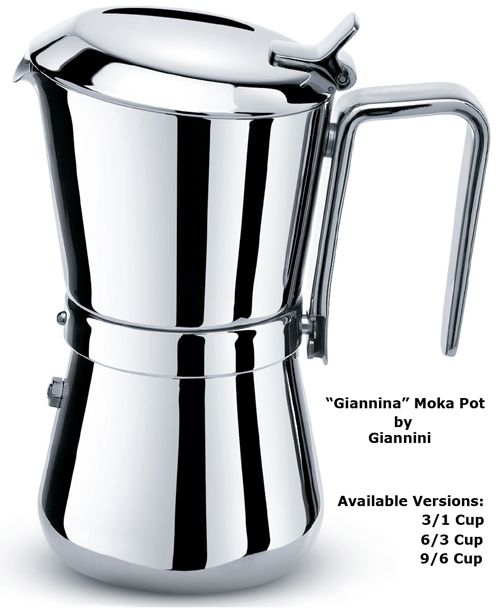 Giannina Stovetop Stainless Steel Moka Pot Espresso Coffee Maker By Giannini