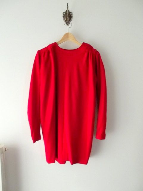 Egg shape Red Knit Dress Knit Wool Shift Dress by PittiVintage