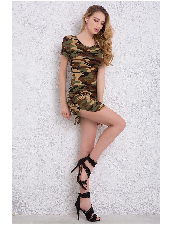 b877dbfa 2018 Fashion Women Summer Dress Short Sleeve Sexy Mini Dresses Green Camouflage  Print Midi Dress Woman Vestidos S-XL