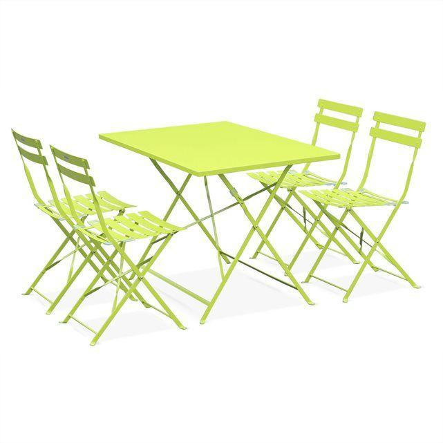 Salon de jardin bistrot pliable Emilia rectangulaire , avec ...