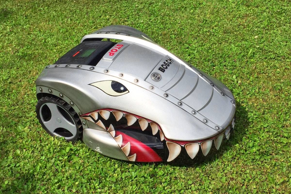 shark attack look at our creative designed bosch indego this self mowing lawnmower keeps your. Black Bedroom Furniture Sets. Home Design Ideas