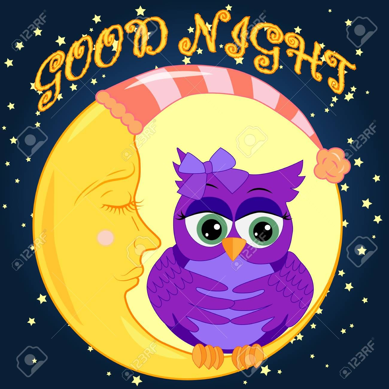 Good night card with sleeping moon and cute owl. Cute cartoon owl coquettish sitting dormant on the crescent against the night sky with stars , #SPONSORED, #moon, #cute, #owl, #sleeping, #Good