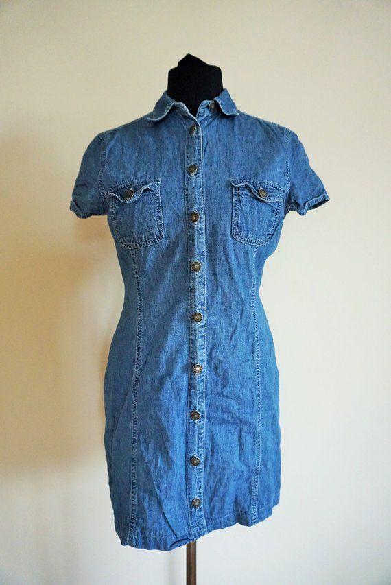 2b764505049 Vintage Denim Dress   Sarafan   Overall   Medium   M   40   One Piece    Dresses   Mini   Jean   Jean