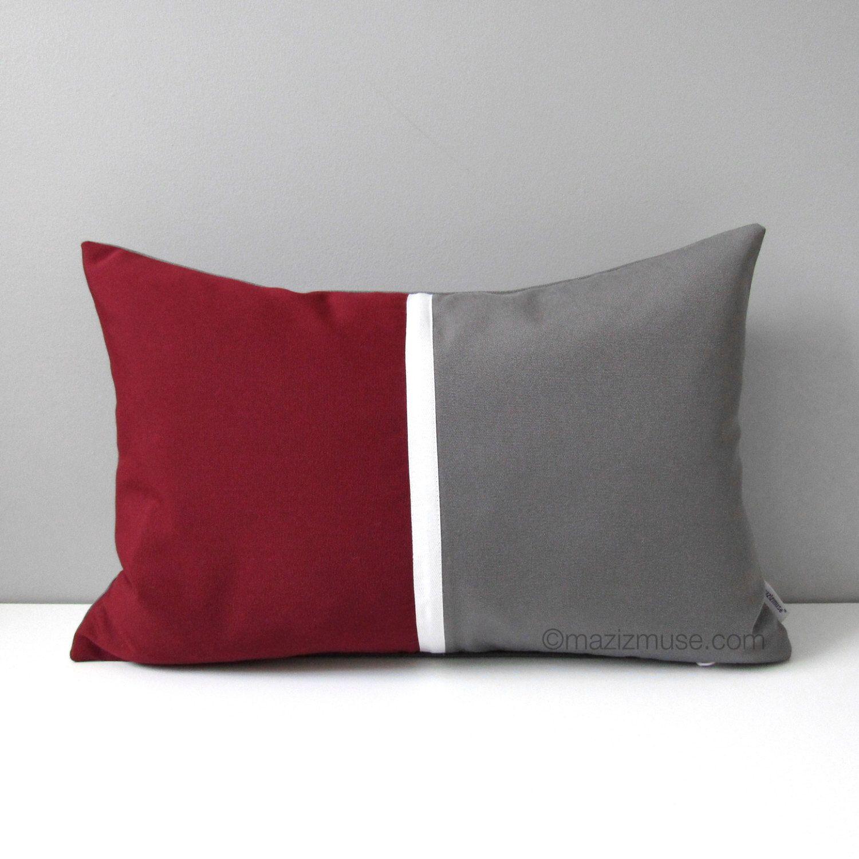 modern outdoor pillows - burgundy grey pillow cover modern outdoor pillow cover