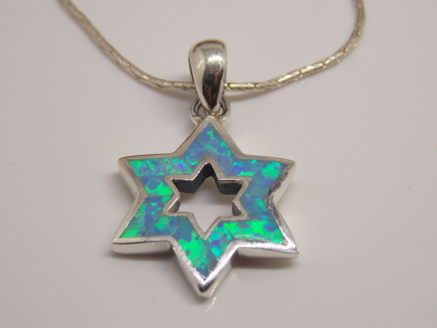 Star of david necklace 925 sterling silver star of david pendant star of david necklace 925 sterling silver star of david pendant blue opal magen david necklace opal star of david opal star necklace aloadofball Image collections