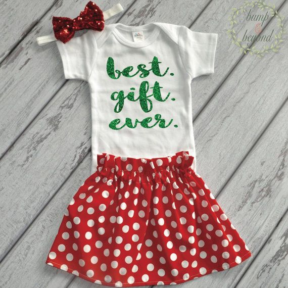 9c976660b First Christmas Baby Girl Outfit Best Gift Ever Newborn Christmas Outfit  Girl with Red Skirt Baby Girl First Christmas Outfit