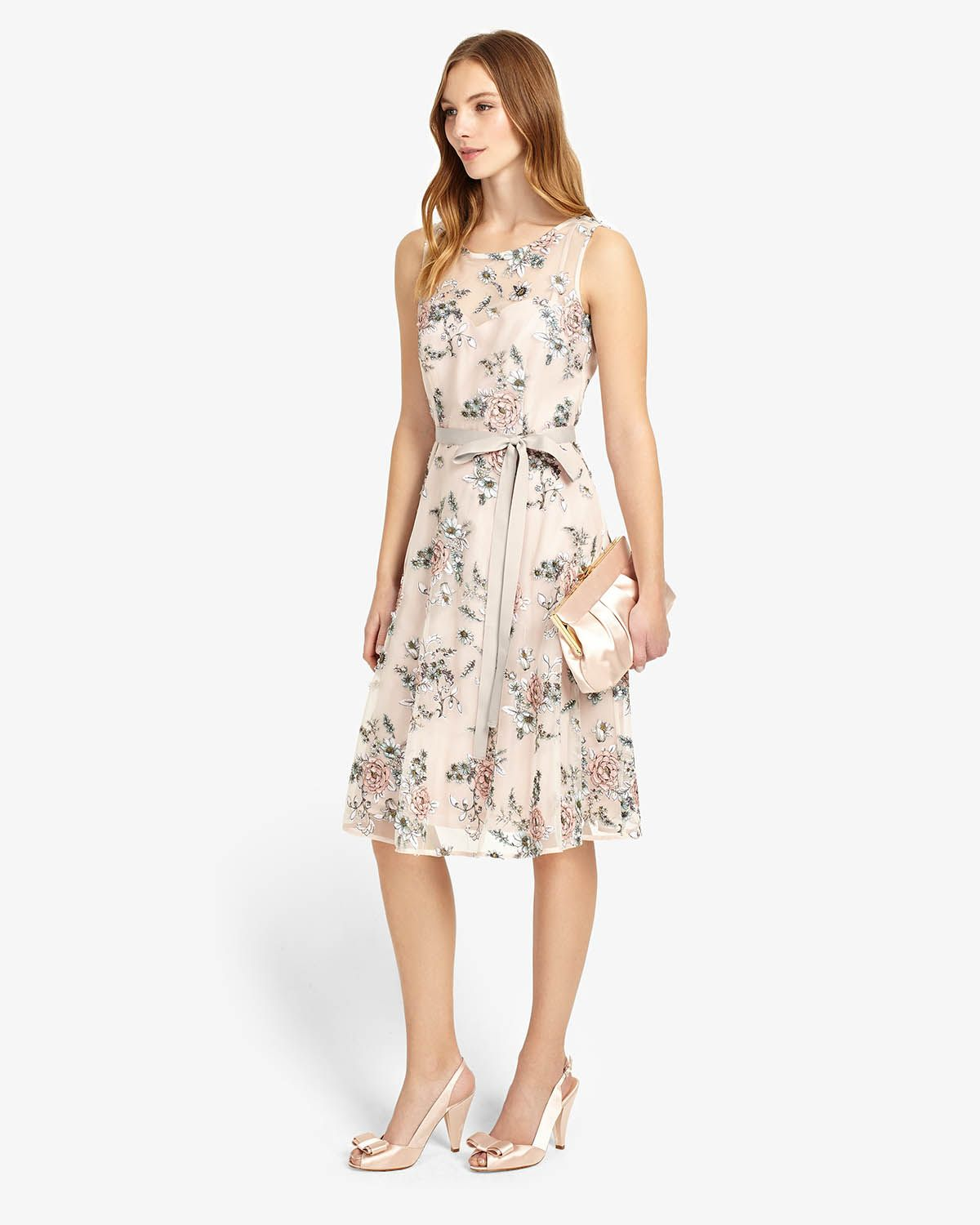 Phase Eight Prudence Embroidered Dress Pink Saty Dresses Phase