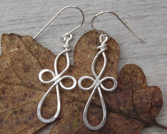 Loopy Celtic Cross Earrings, Sterling Silver Wire Cross Jewelry ...