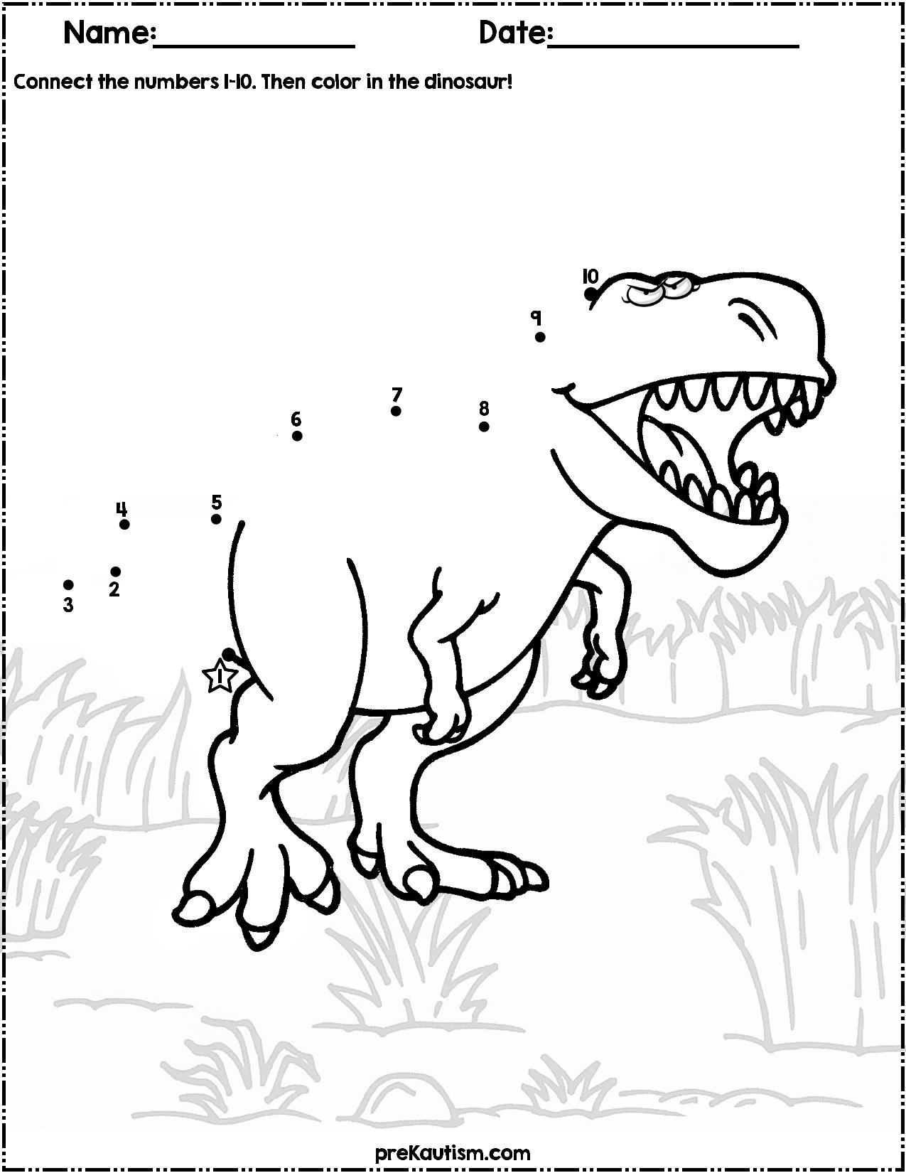 Dinosaur Dot to Dot | #1-10 | Dinosaurs preschool