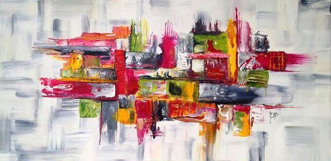 All gresse toile peinture acrylique plusieurs couleurs 40 x 80 x 2 cm tableau moderne - Tableau peinture acrylique moderne ...