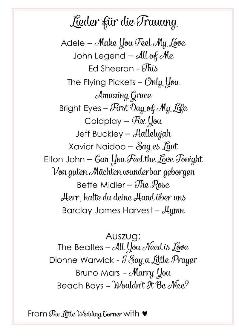 Die Schönsten Lieder Für Die Trauung Lieder Hochzeit