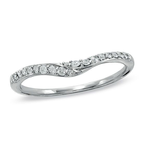 T W Diamond Swoop Contour Wedding Band In 14k White Gold