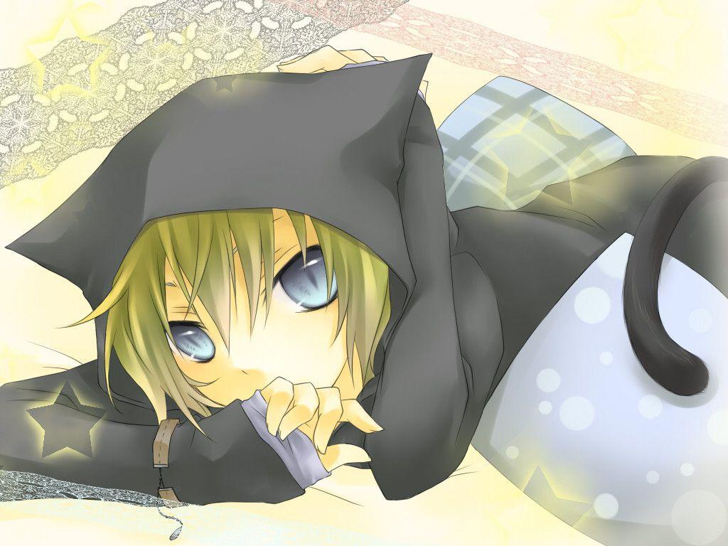 Konachan Com 126025 Animal Ears Blonde Hair Blue Eyes Catboy Kagamine Len Kuroi Liar Player Stars Tail Vocaloid Jpg 1024 768 Anime Cat Girl Anime Boy