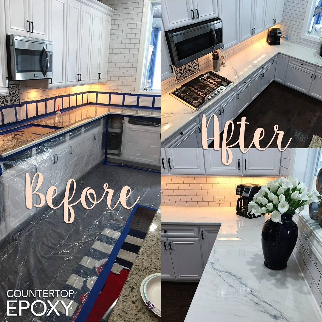 Customer S Countertop Transformation Using Our White Marble Epoxy Kit Www Countertopepoxy Com Resin Countertops
