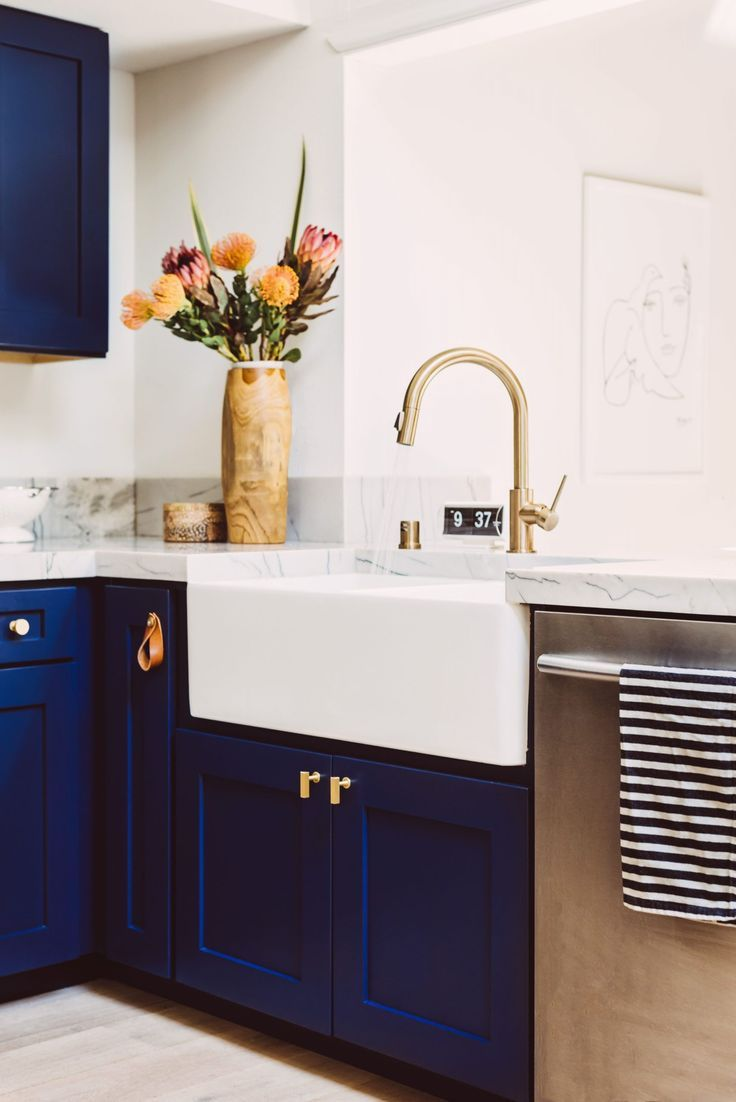 home decor plants navy kitchen remodel with quartzite countertops and brass hardware in 2020 on kitchen decor navy id=43870