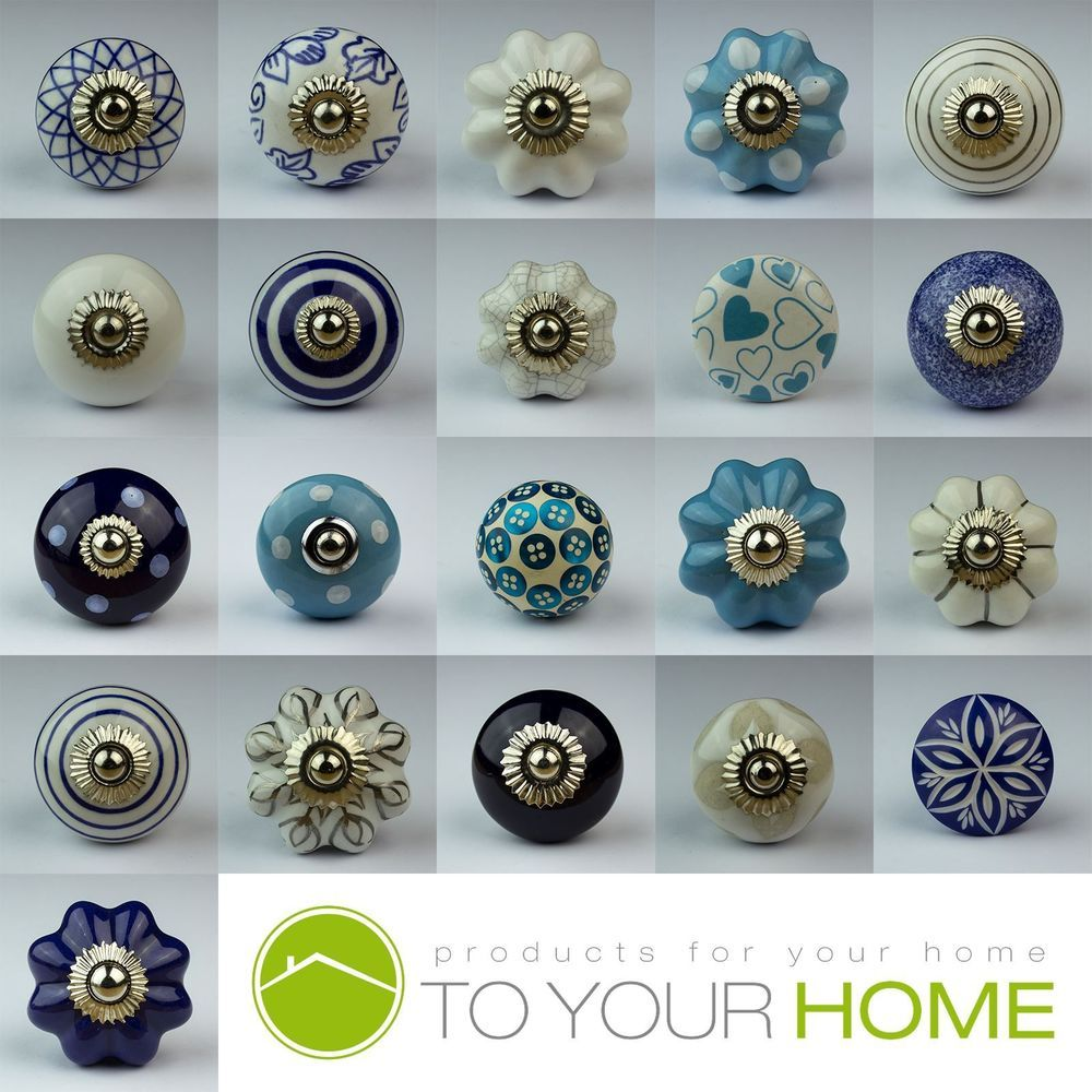 Blue White Navy Ceramic Door Knobs Handles Furniture Drawer Pulls