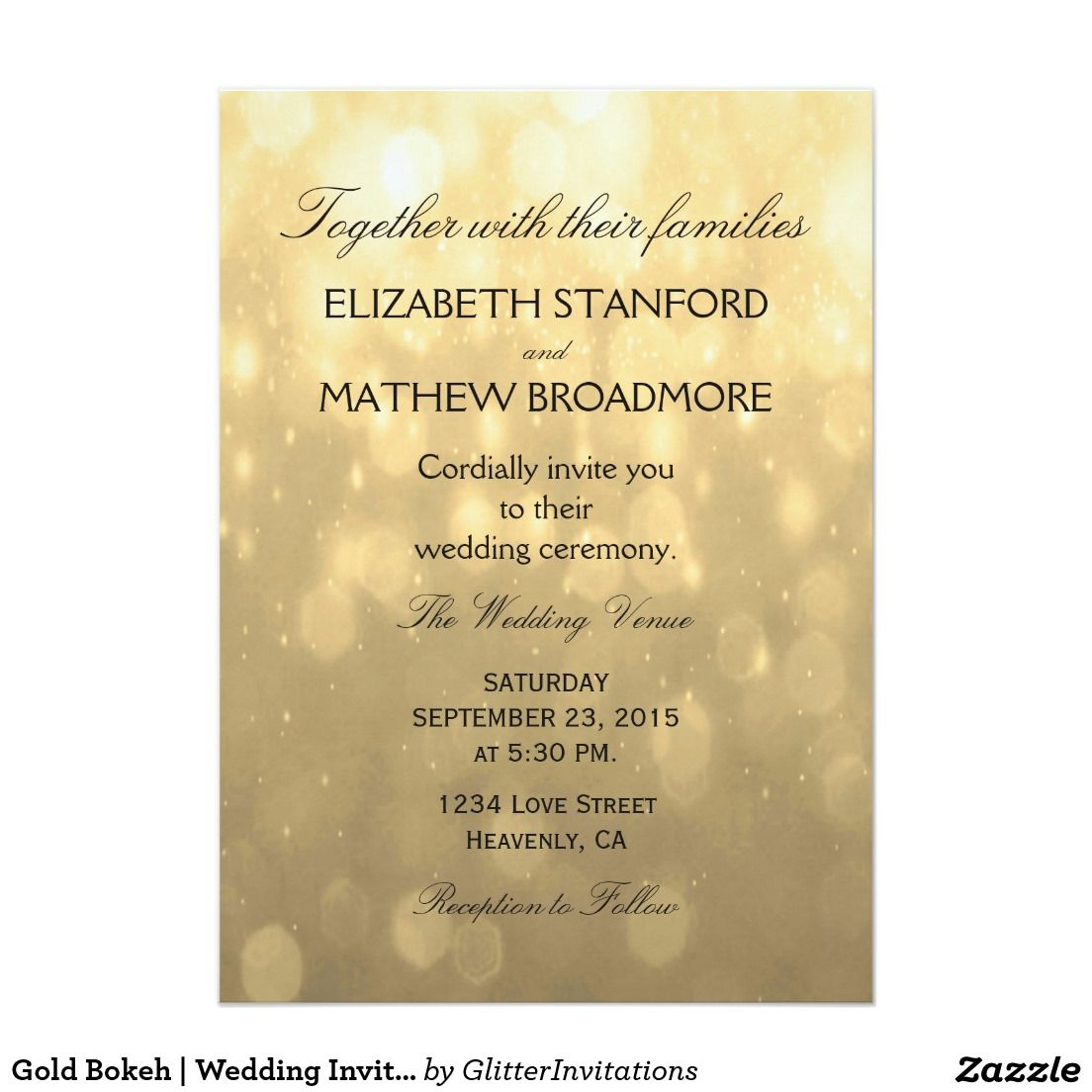 Gold Bokeh Wedding Invitation Bokeh Rsvp And Weddings