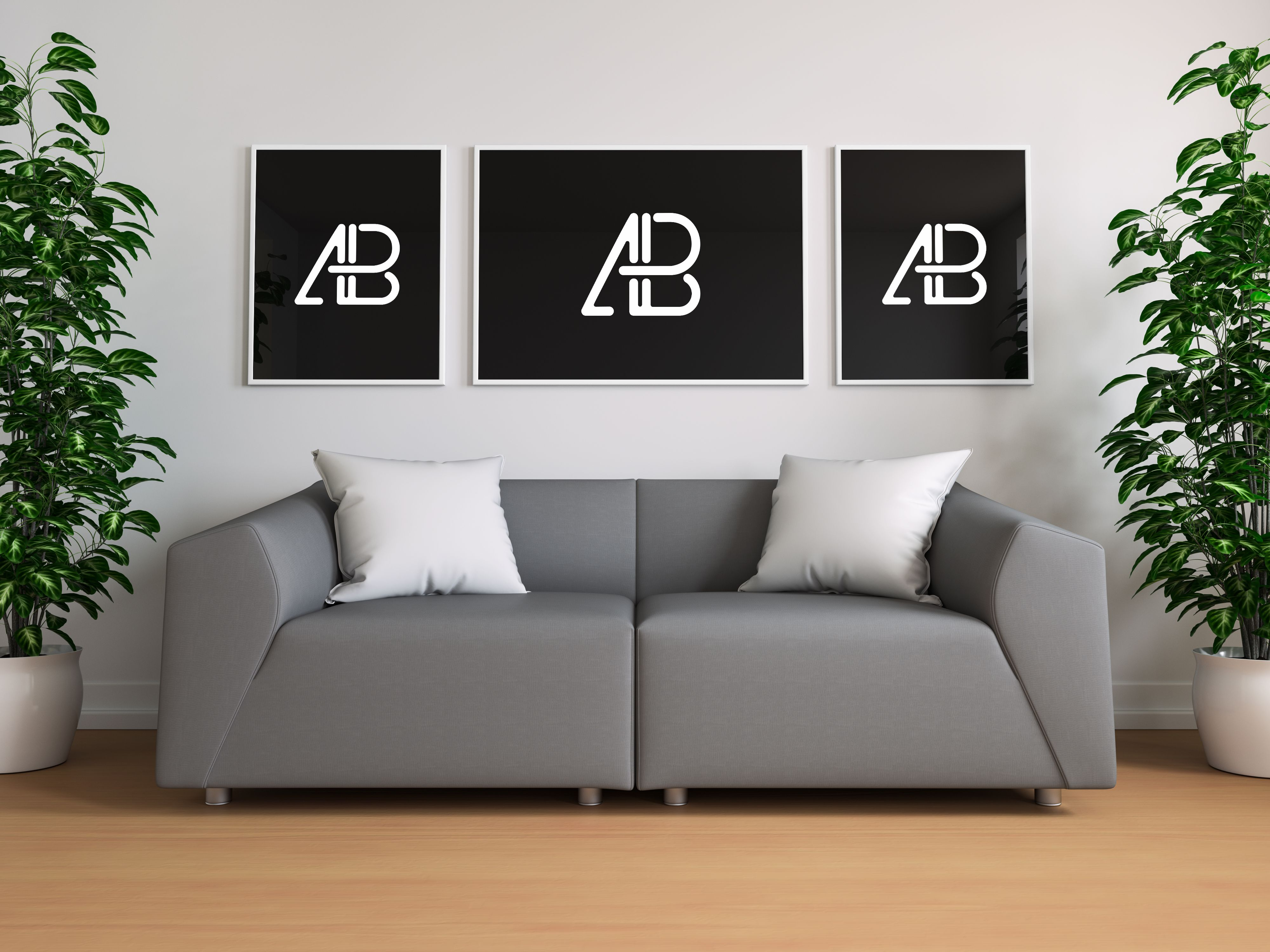Triple Poster In Living Room Mockup Poster Mockup Frames On Wall Best Free Fonts