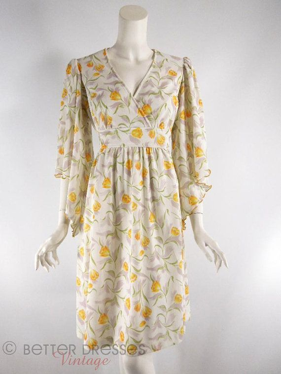 Vintage 70s Flutter Sleeve Wrap Front Dress With Yellow Tulips by BeeDeeVintage, $45.00