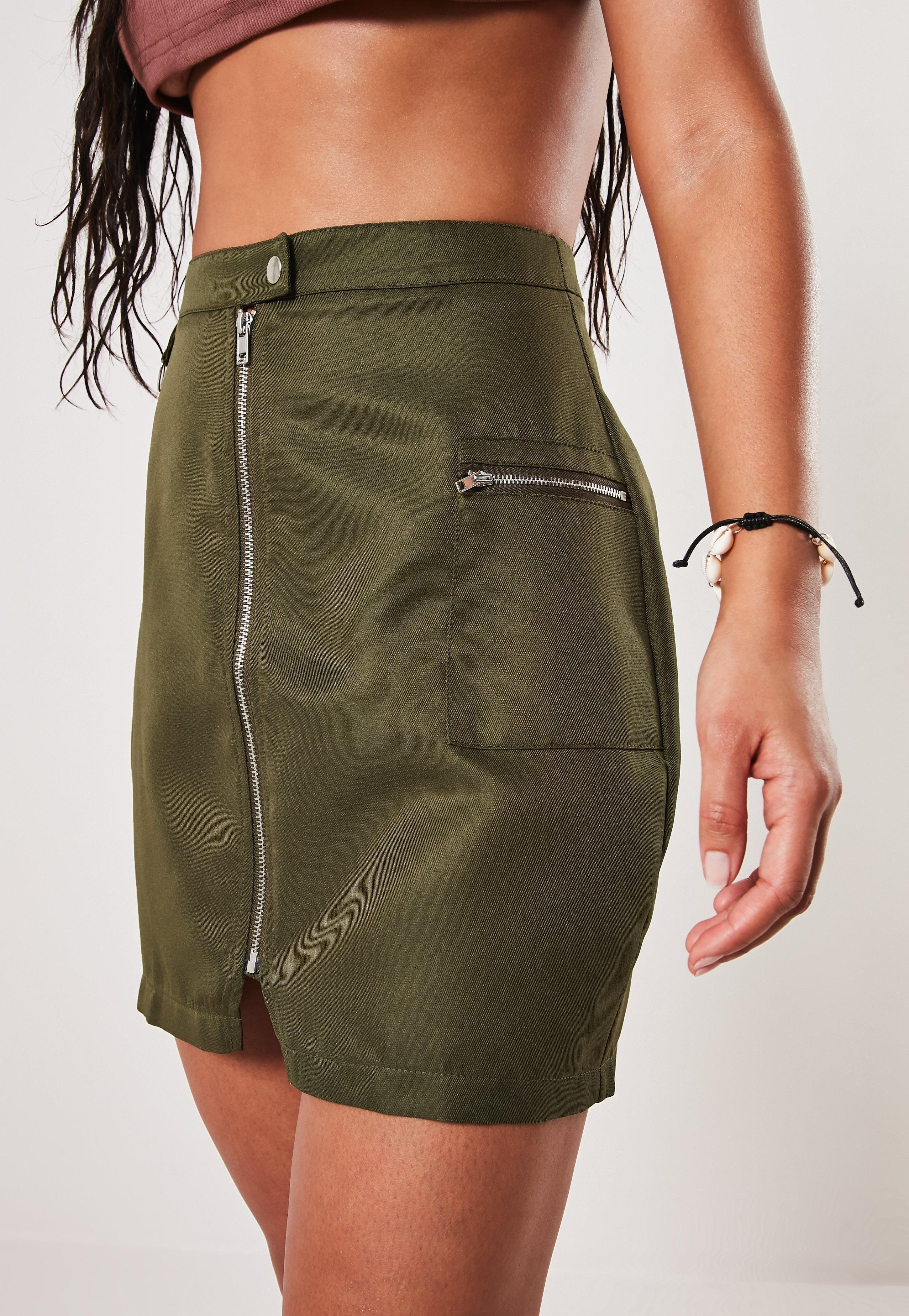 15c90d0d72d6e9 Khaki Zip Utility Mini Skirt in 2019 | Dresses Casual Fall | Mini ...