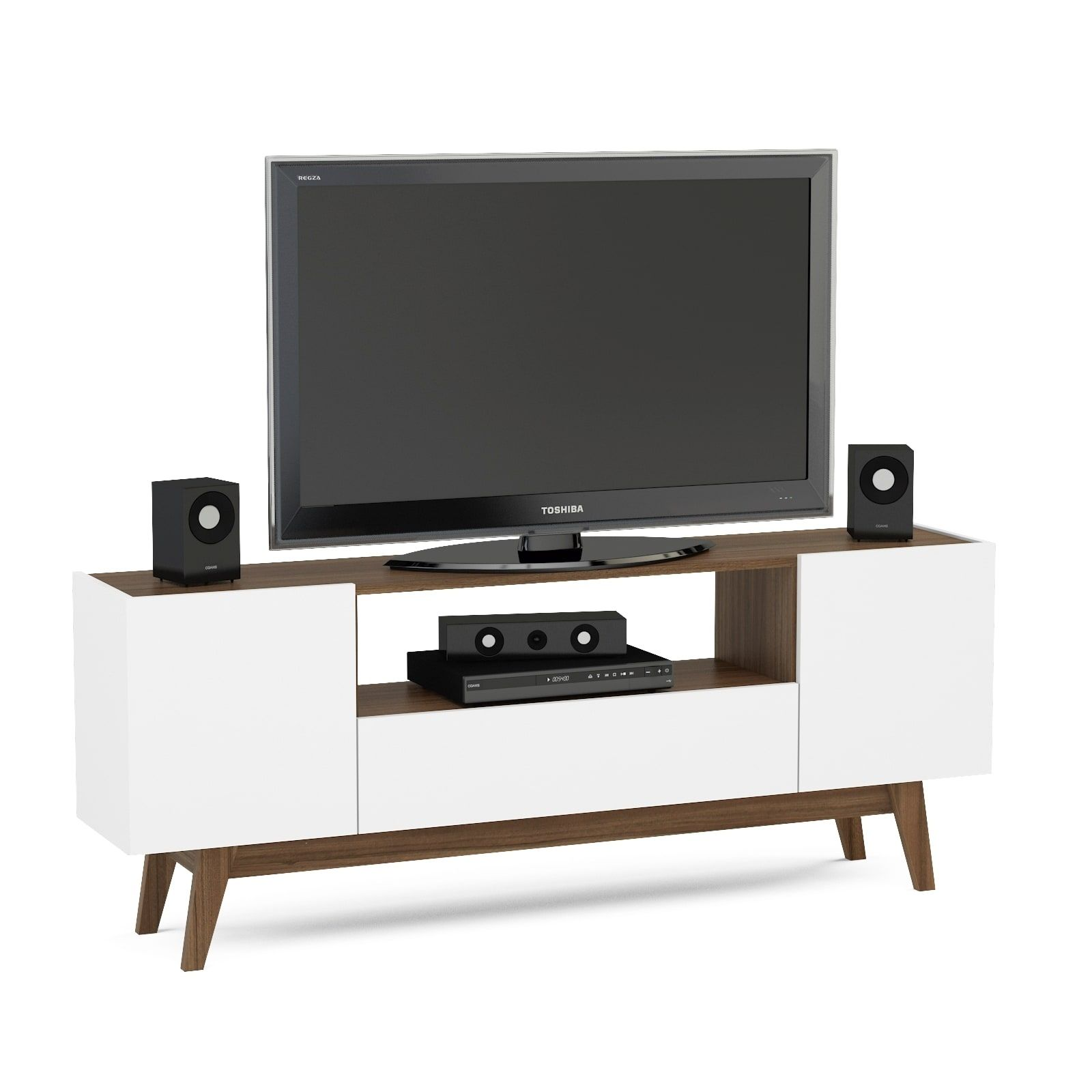Boahaus White and Brown Wood 60inch TV Stand Overstockcom