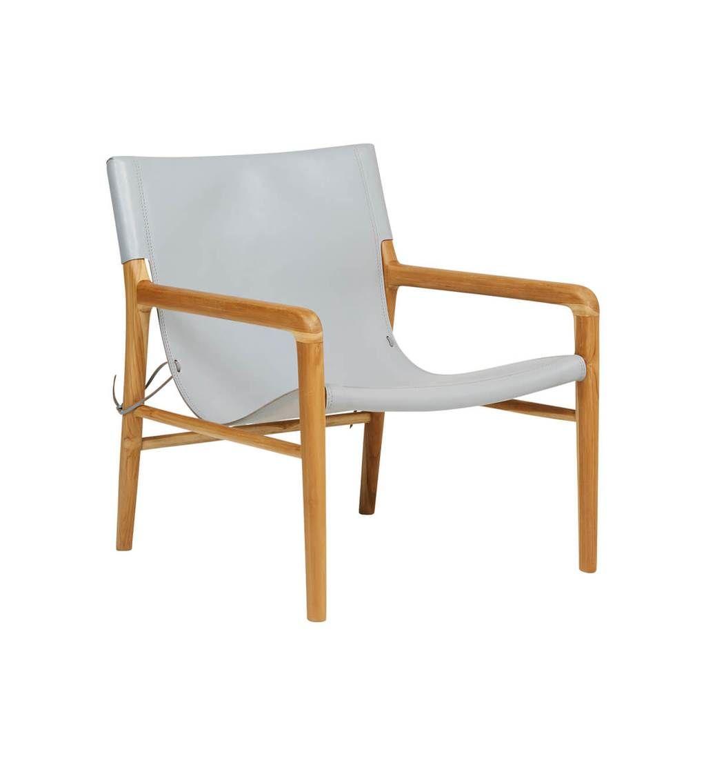 Leather sling chair teak u grey home furniture pinterest