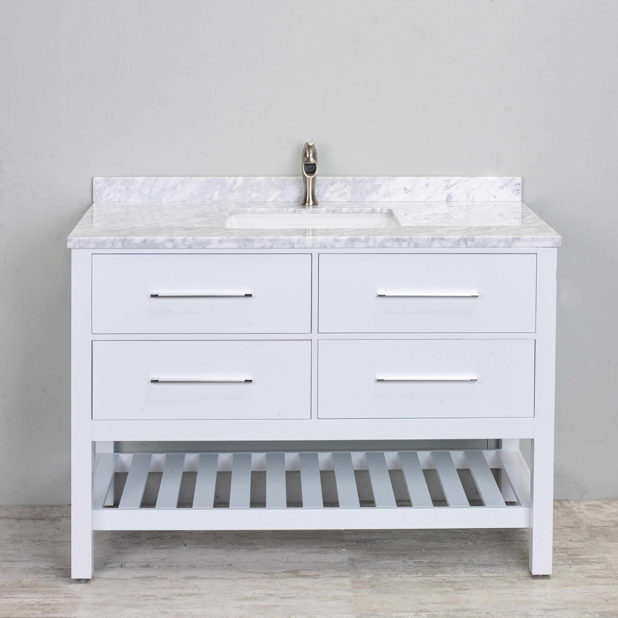 48 inch white bathroom vanity. Eviva 48-inch White Bathroom Vanity With Carrera Marble Counter-top 48 Inch S