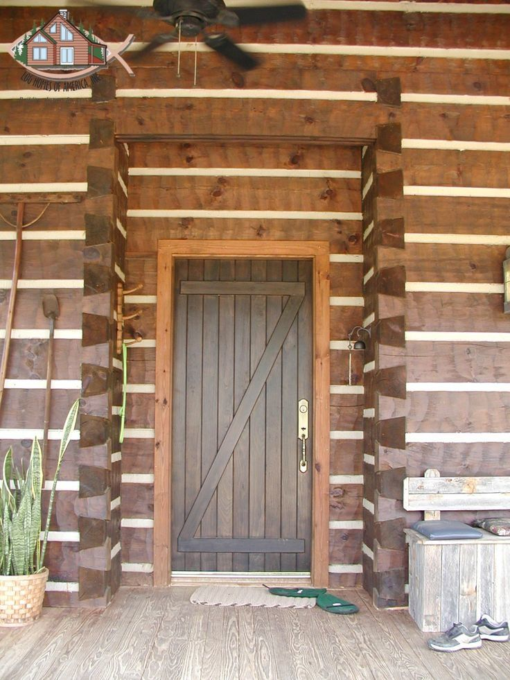 6 X12 Hand Hewn Square Log With Chinking Showing Inset Main Entry Door House Front Door Log Homes Country Style Interiors