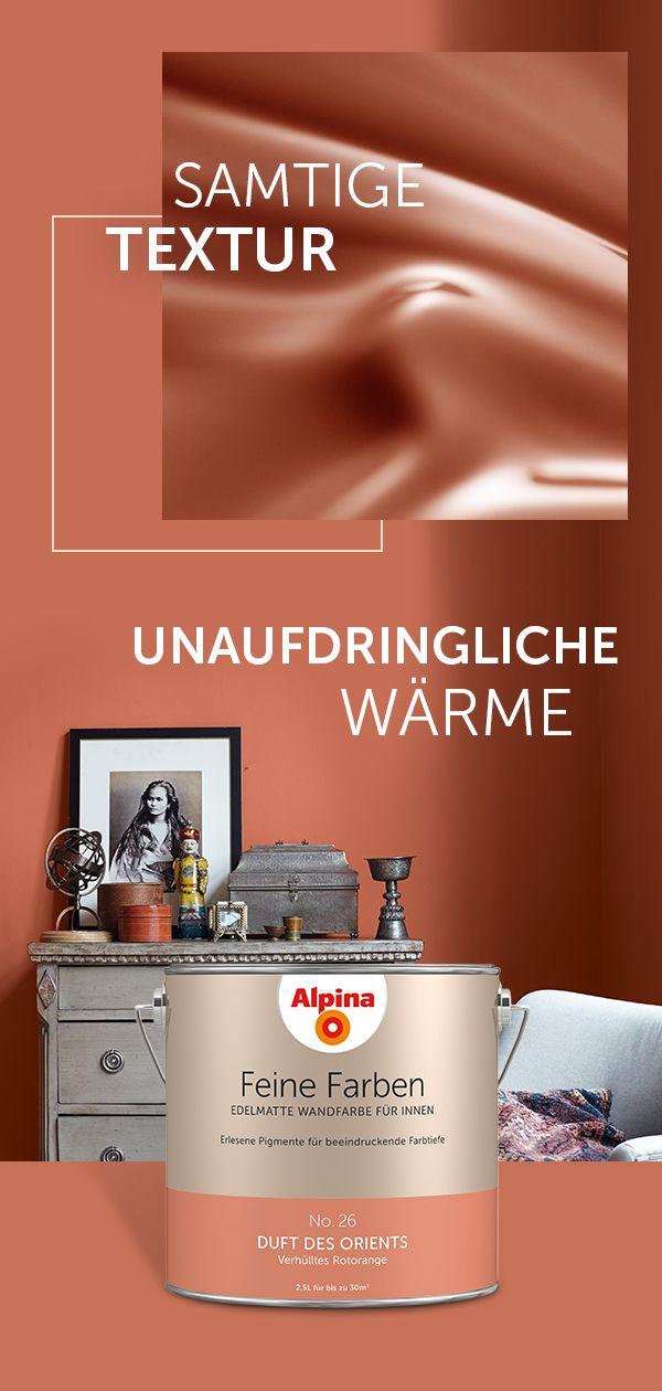 Alpina Feine Farben - Duft des Orients| Verhülltest Rotorange Wandfarbe