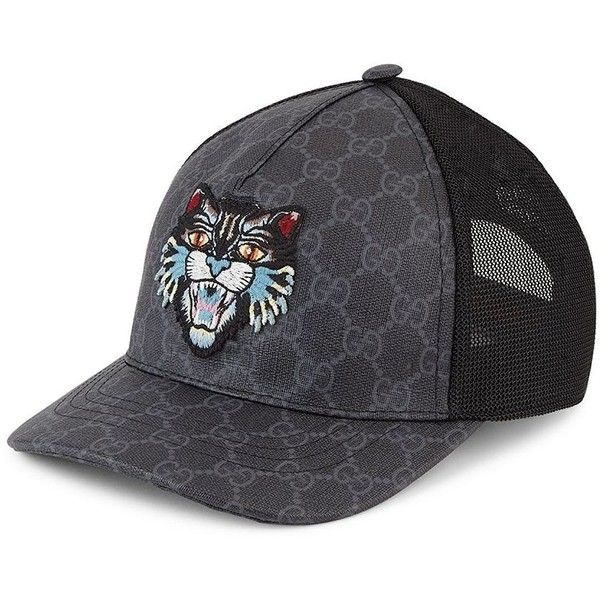 f181da7f37ce03 Gucci Angry Cat GG Supreme Canvas Baseball Cap (1.110 BRL) ❤ liked on  Polyvore featuring men's fashion, men's accessories, men's hats, men's  brimmed hats, ...