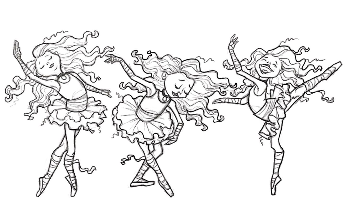 Three Ballerinas Coloring Page Dance Coloring Pages Ballerina Coloring Pages Cinderella Coloring Pages