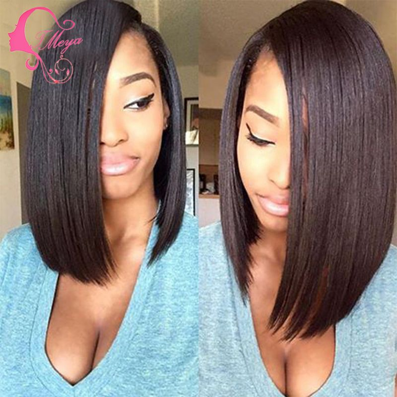 Luffy Natural Looking 130 Density Human Hair Short Bob Wig Virgin Brazilian Full Lace Glueless Style Color For Black Inch