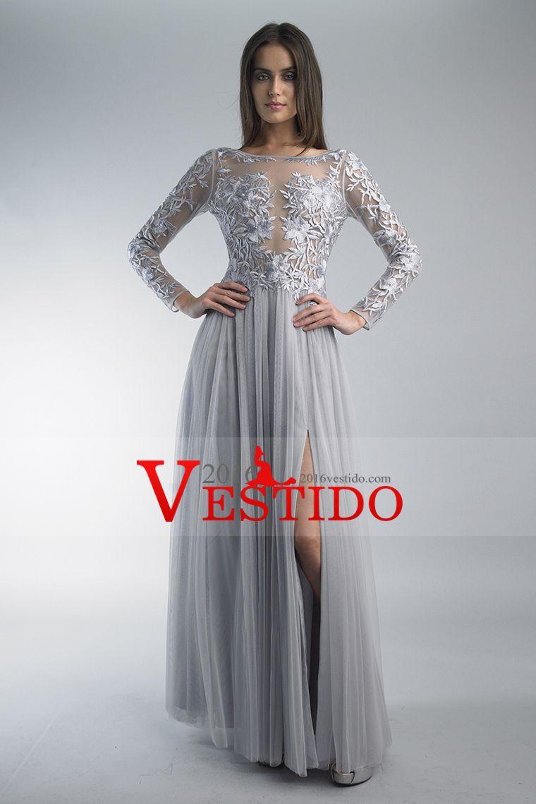 2015 completa mangas vestidos de baile Bateau Con hendidura y bordado de tul longitud del piso