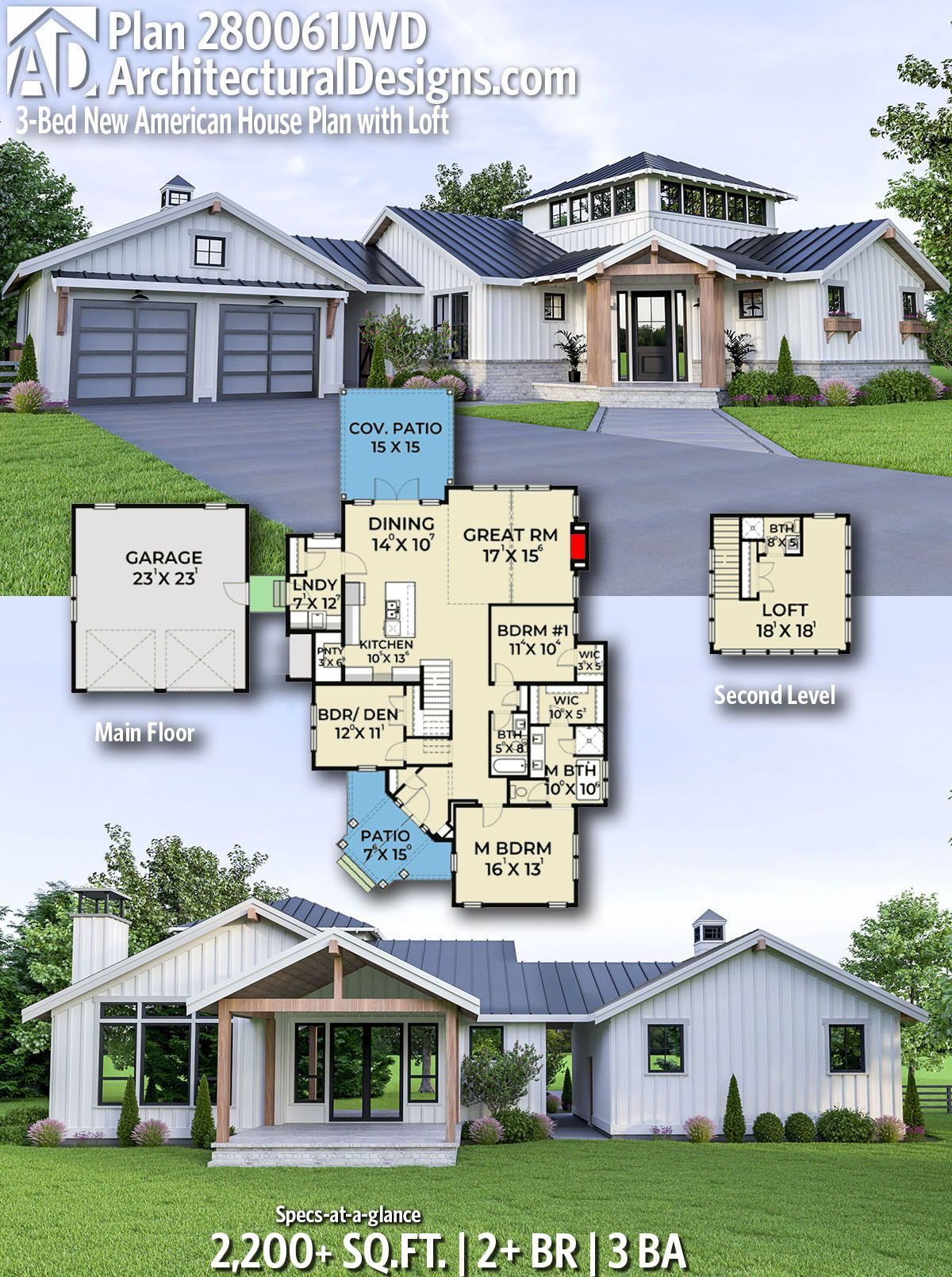 Plan 280061jwd 3 Bed New American House Plan With Loft House Plan With Loft House Plans Architectural Design House Plans