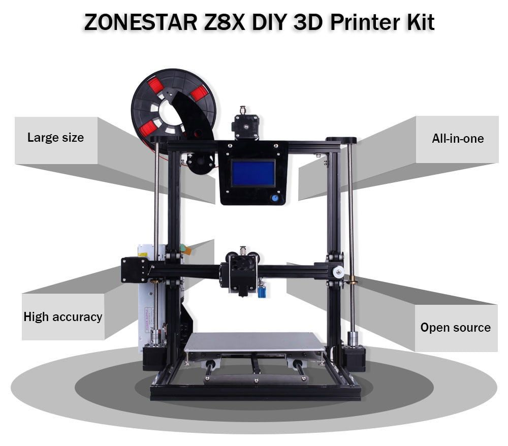 Zonestar Z8x Multi Material Printing Diy 3d Printer Kit Sale Price Reviews Gearbest Mobile 3d Printer Kit Printer 3d Printer