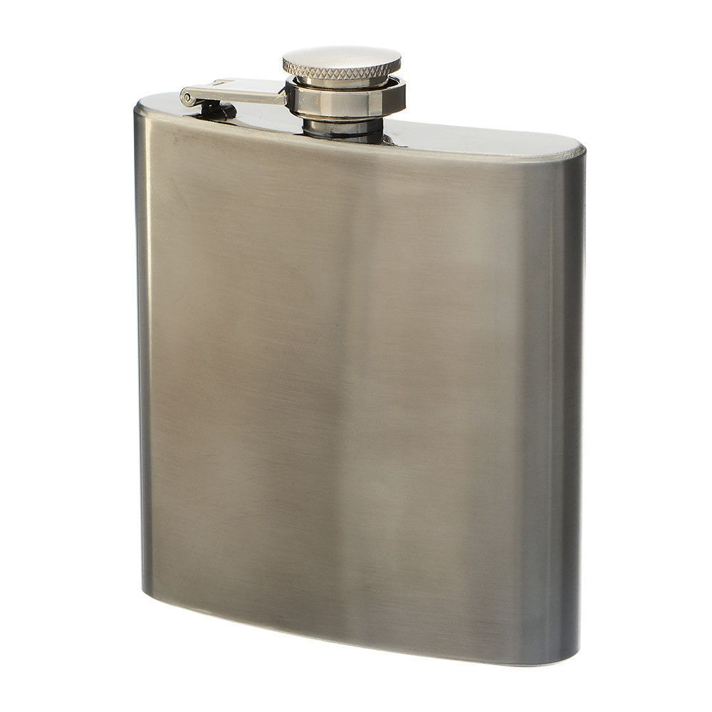 Silver Tone Stainless Steel 6 oz. Flask