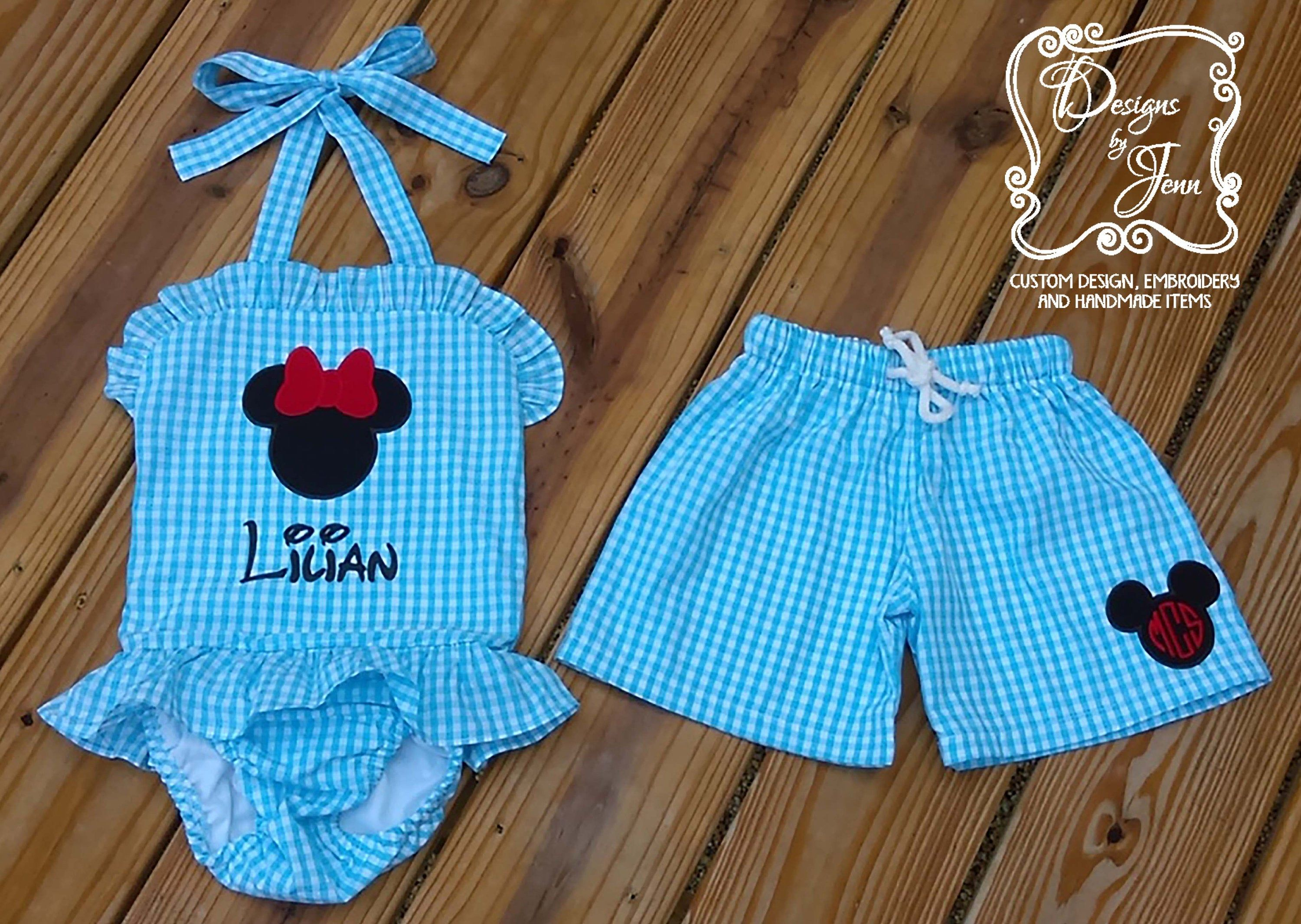 Ruffle One Piece Easter Basket Gift Girl/'s Seersucker or Gingham Monogrammed Personalized Swimsuit Summer Matching Swimsuits