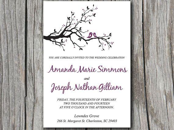 Love Birds Heart Branch Wedding Invite Microsoft Word Template Purple Whimsical Nature T Bird Wedding Invitations Tree Wedding Invitations Love Birds Wedding