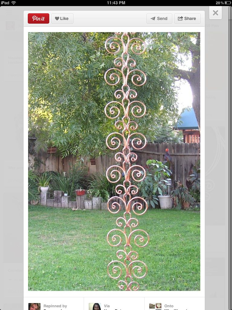 8 ft Solid Copper Swirl Rain Chain