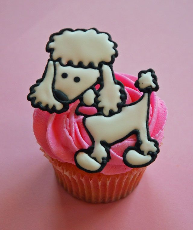 poodle - strawberry cupcake, buttercream, and runny royal poodle