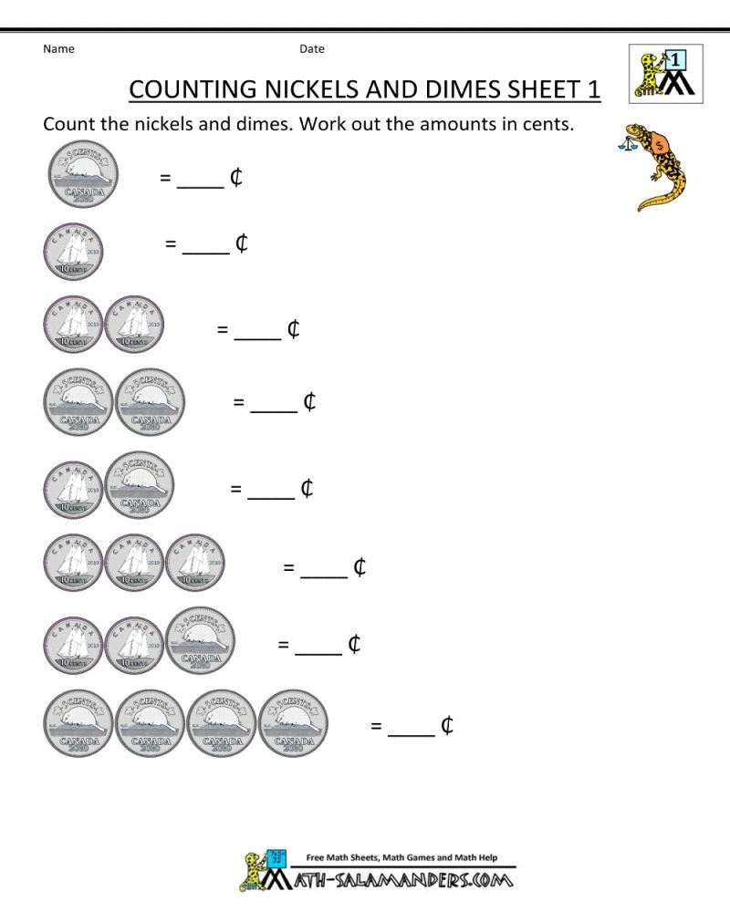 Free Printable 1st Grade Money Math Worksheet Math Worksheets Printable