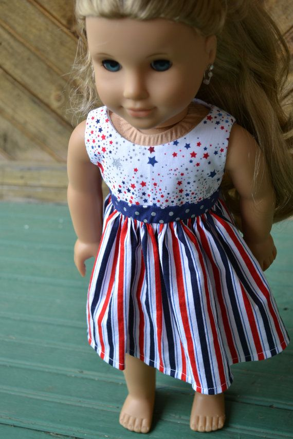 18 inch Doll Clothes - Stars and Stripes Colorblock Dress - RED ...