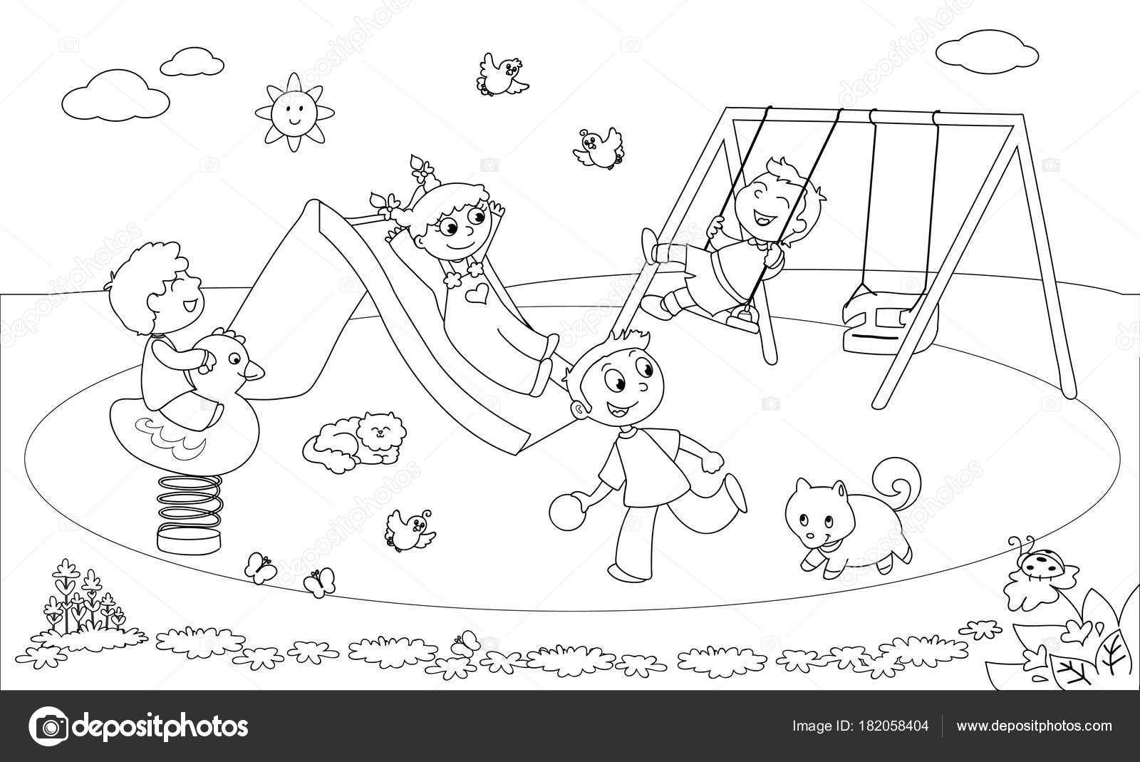 Baixar Criancas No Parque Infantil Colorir Vector Ilustracao