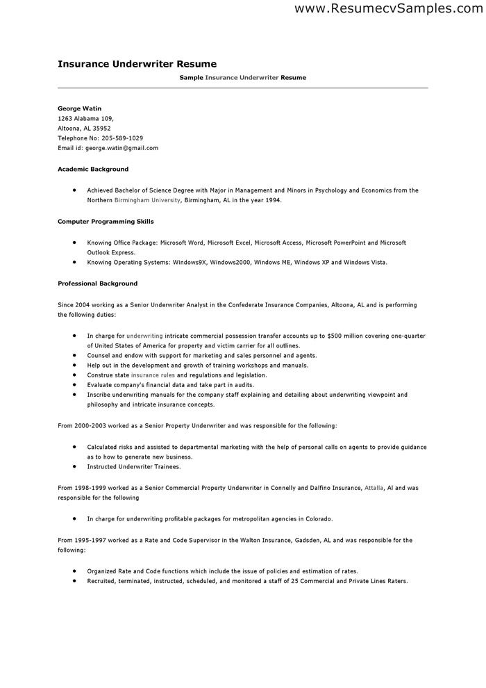 Underwriting Assistant Resume -   wwwresumecareerinfo - insurance personal sample resume