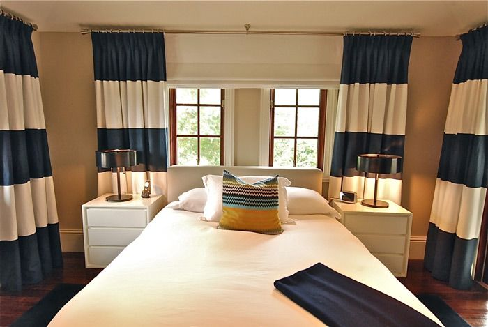 Bold Navy Blue And White Striped Curtains Dining Room Curtains