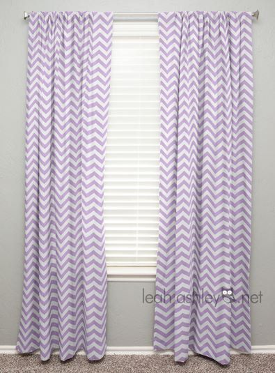 Curtain Panel Lavender White Chevron By Leahashleyokc On Etsy