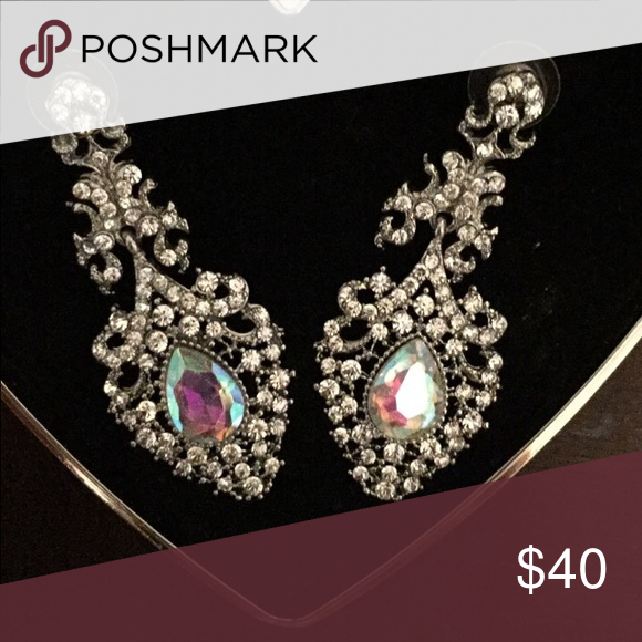 Prom Earrings Silver With Iridescent Stone In Center Worn Once Paid 65
