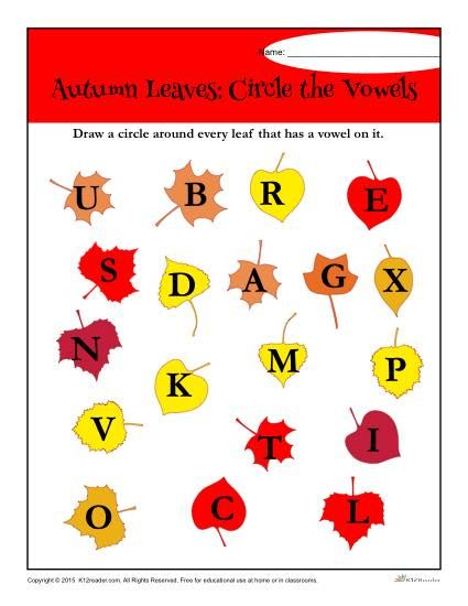 Autumn Leaves: Circle the Vowels Worksheet Activity | Worksheets ...