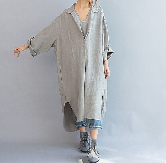 Women Linen Maxi Shirt Dress Vintage Loose Casual Gown Kaftan Blouse Summer Cotton Half Sleeve Button Down Long Dresses Plus Size UK 8 10 12 14 16 18 20 22